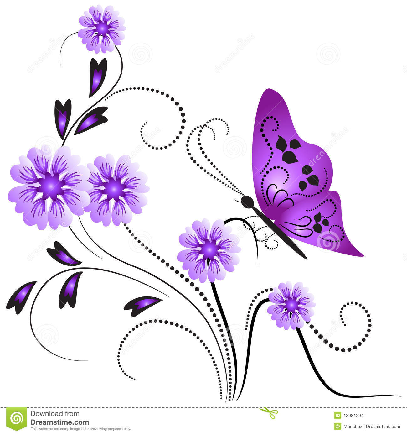 flower ornament with butterfly stock images image 13981294