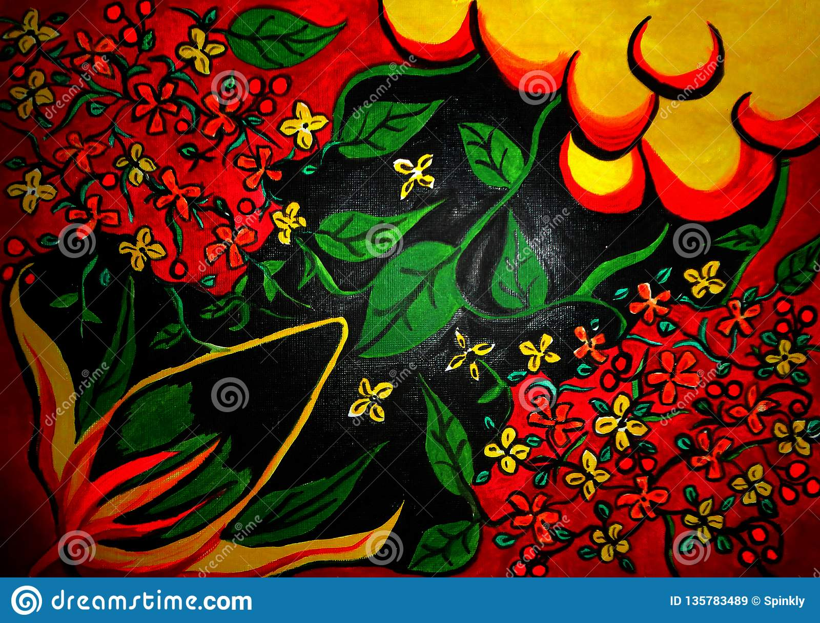Flower painting on canvas created background design