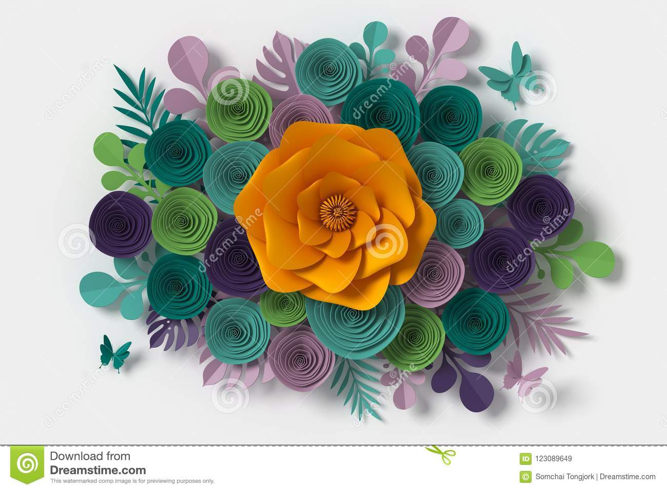Flower Paper Style Colorful Rose Paper Craft Floral Butterfly