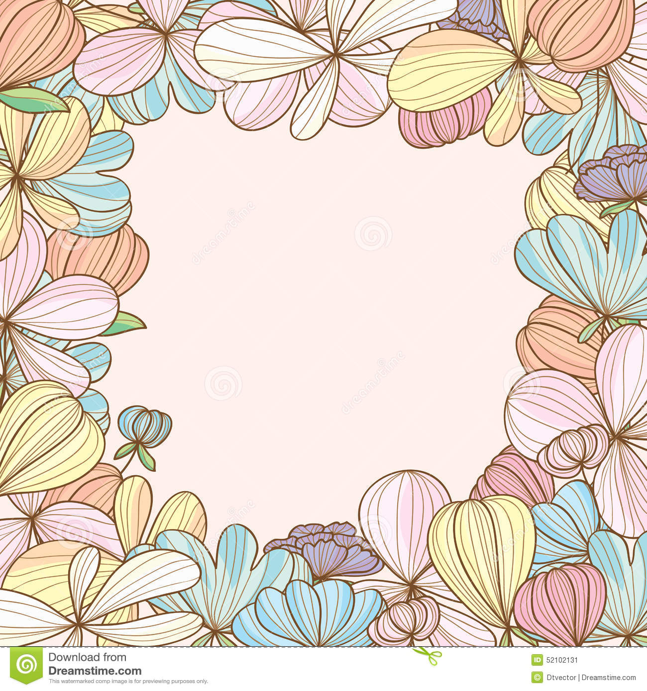 Illustration flowers pastel color around frame card hand drawing.