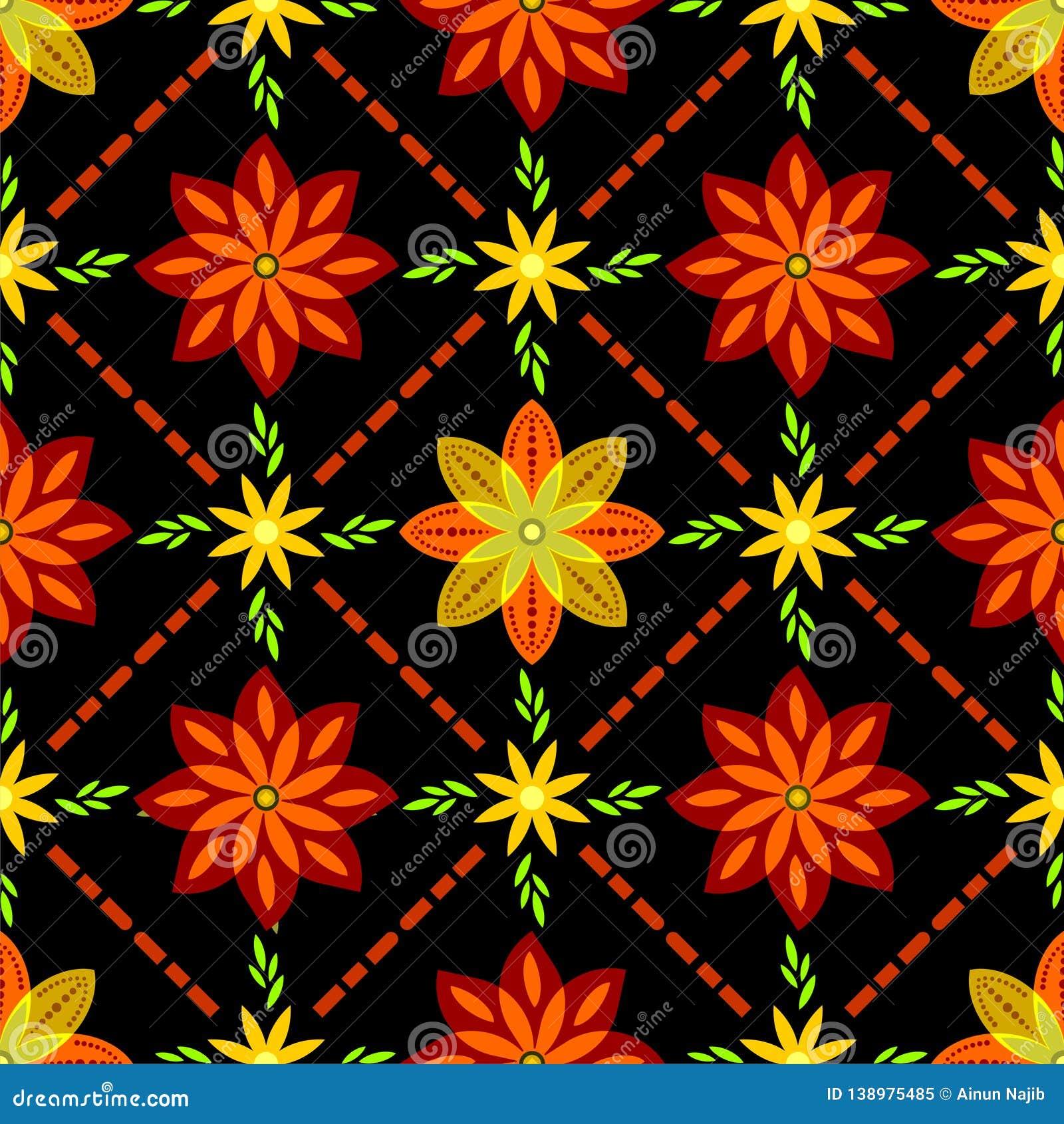 Flower Pattern On Batik With Black Background Stock