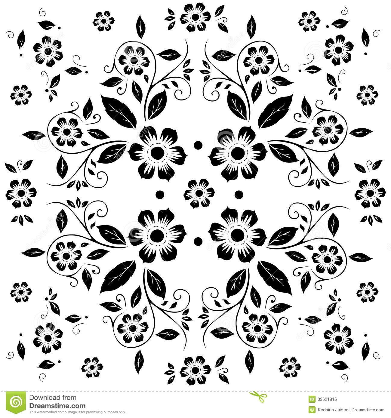 Black Flower Pattern Stock Images: Flower Pattern,black And White Flora On White Background