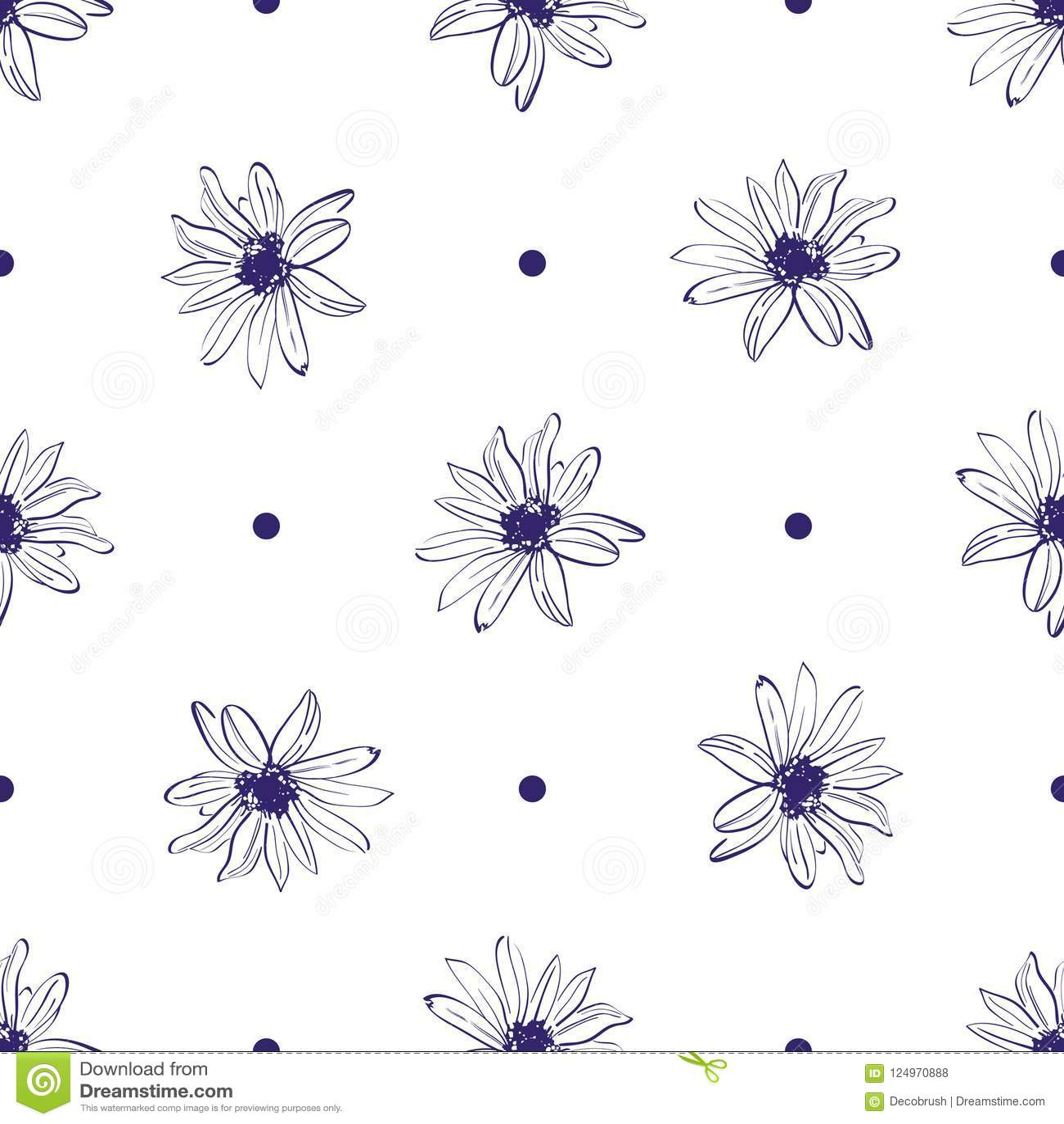 Flower Pattern Seamless Elegant Hand Drawn Flower Minimal Design