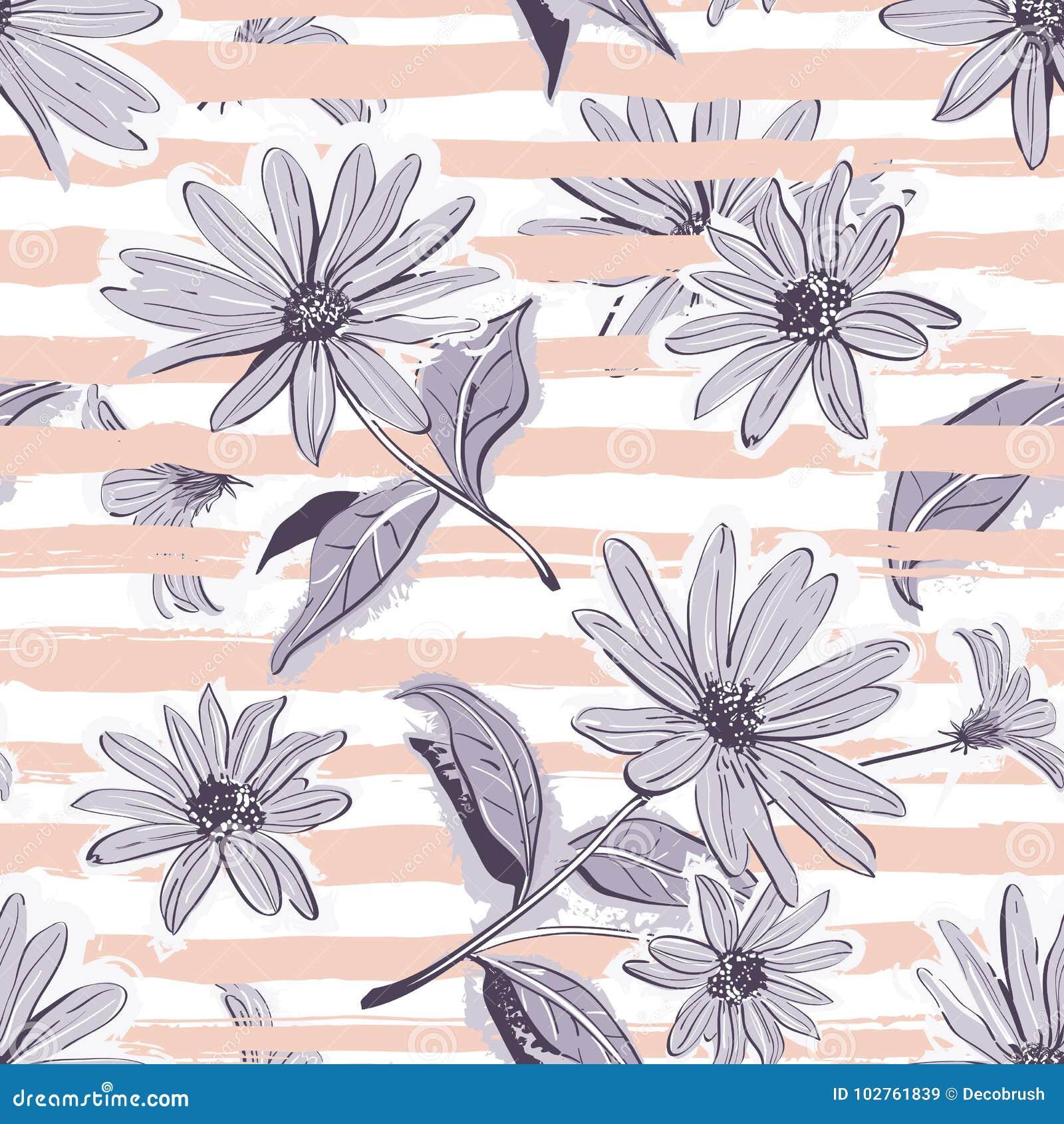 Flower Pattern Seamless Elegant Pastel Striped Background Vintage Flowers Wallpaper