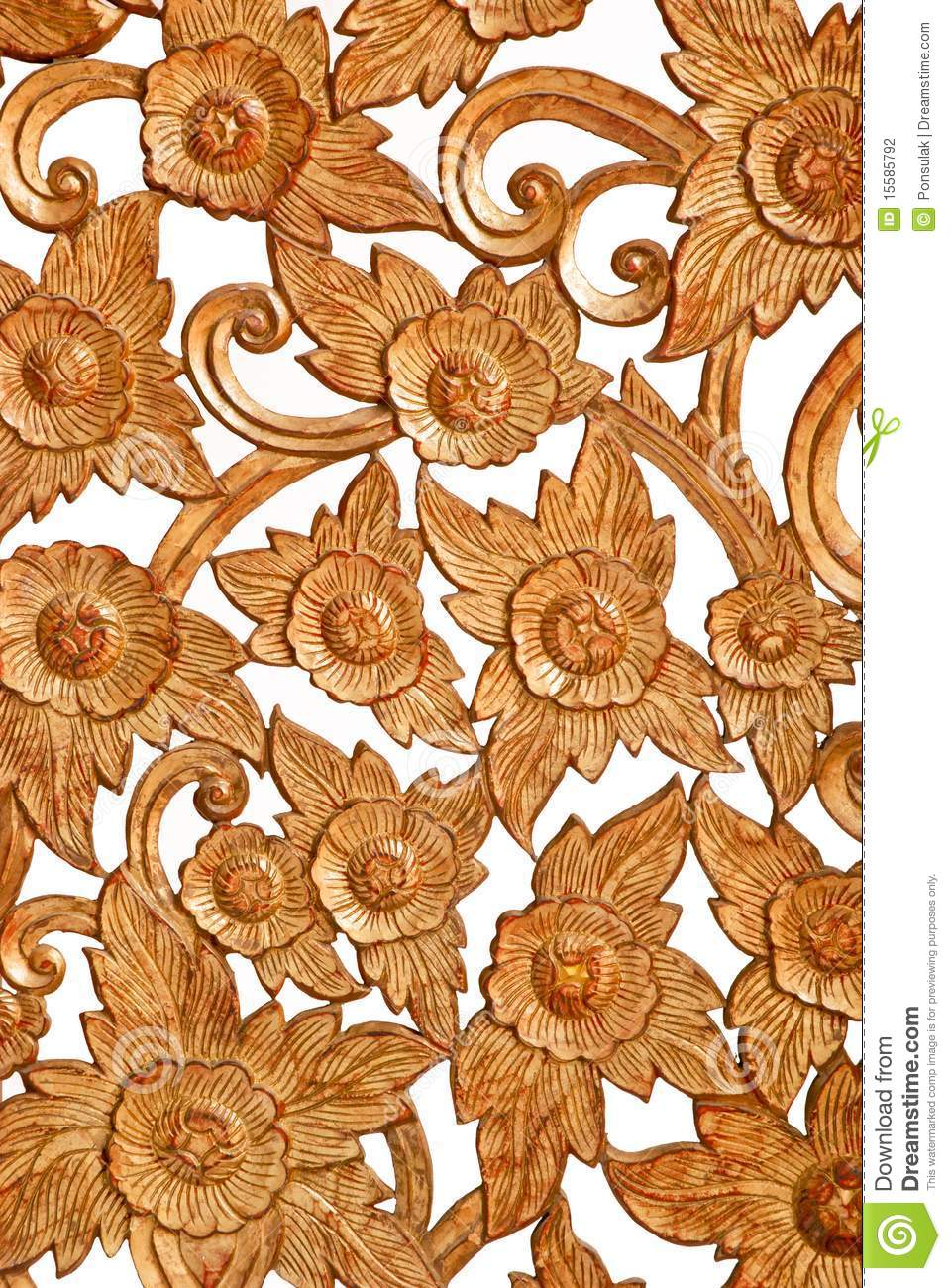 Flower Pattern Wood Carve Stock Photos