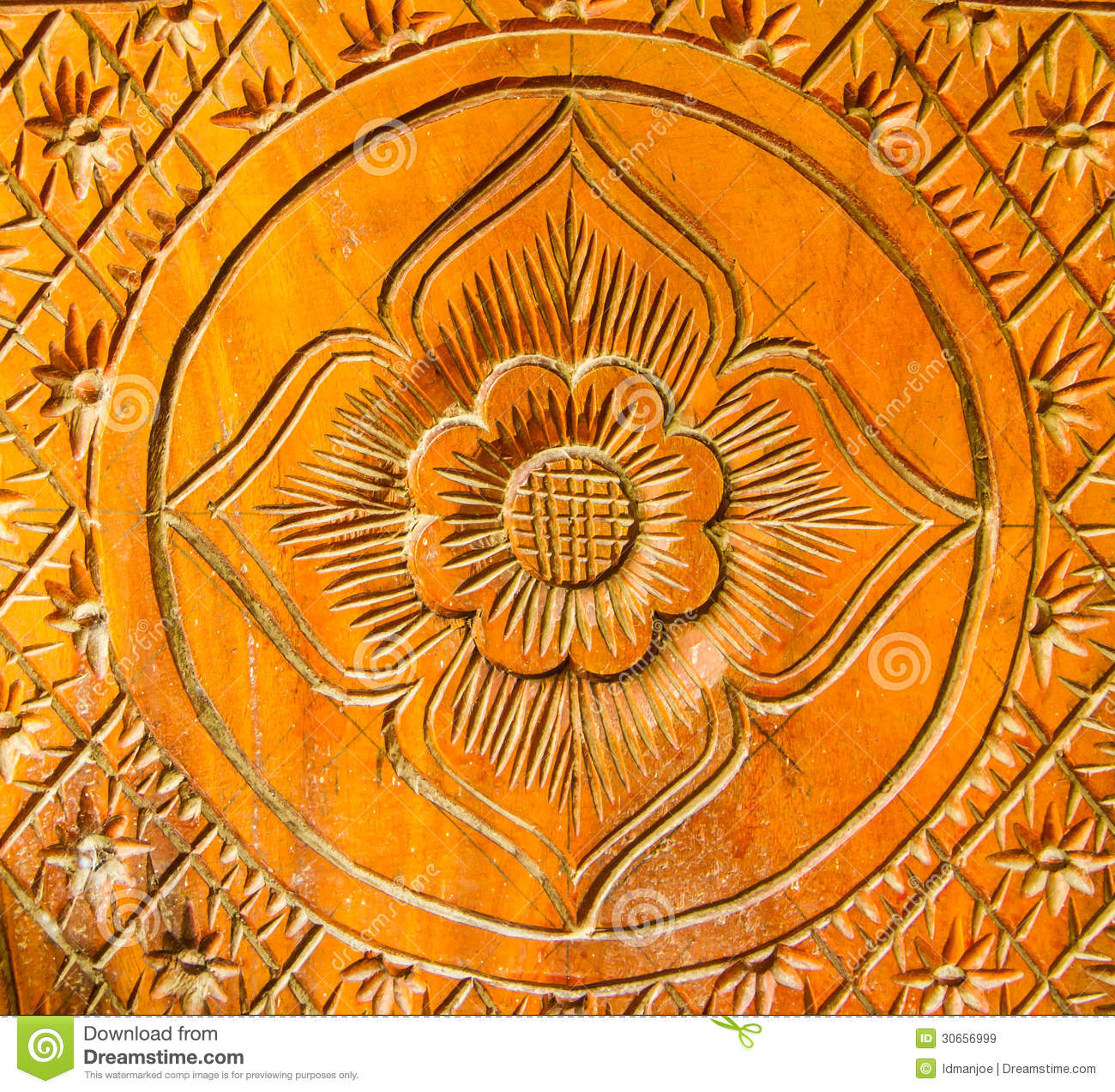 Flower pattern wood carving royalty free stock images
