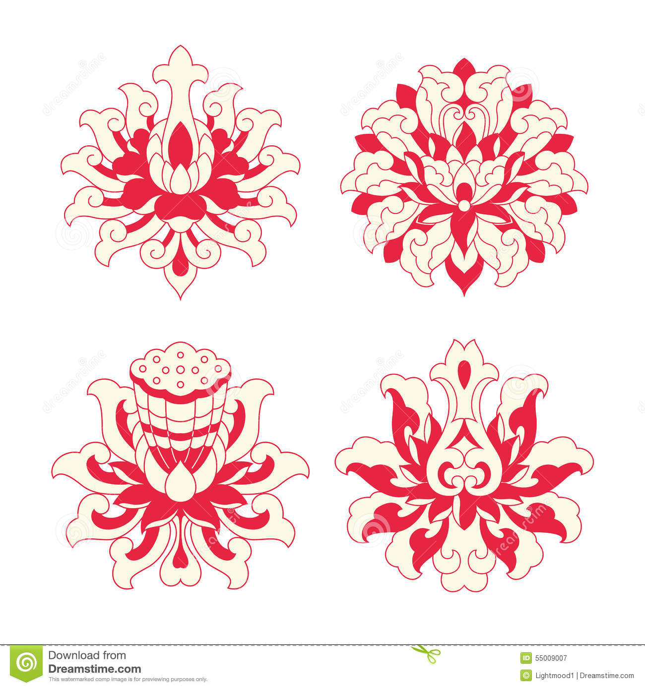 flower patterns of chinese style stock vector  image, Natural flower