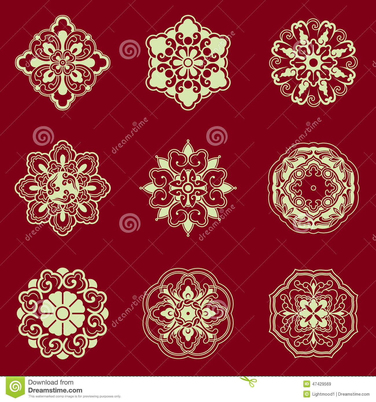 Flower Patterns Chinese Traditional Decorative Elements Stock Vector Image