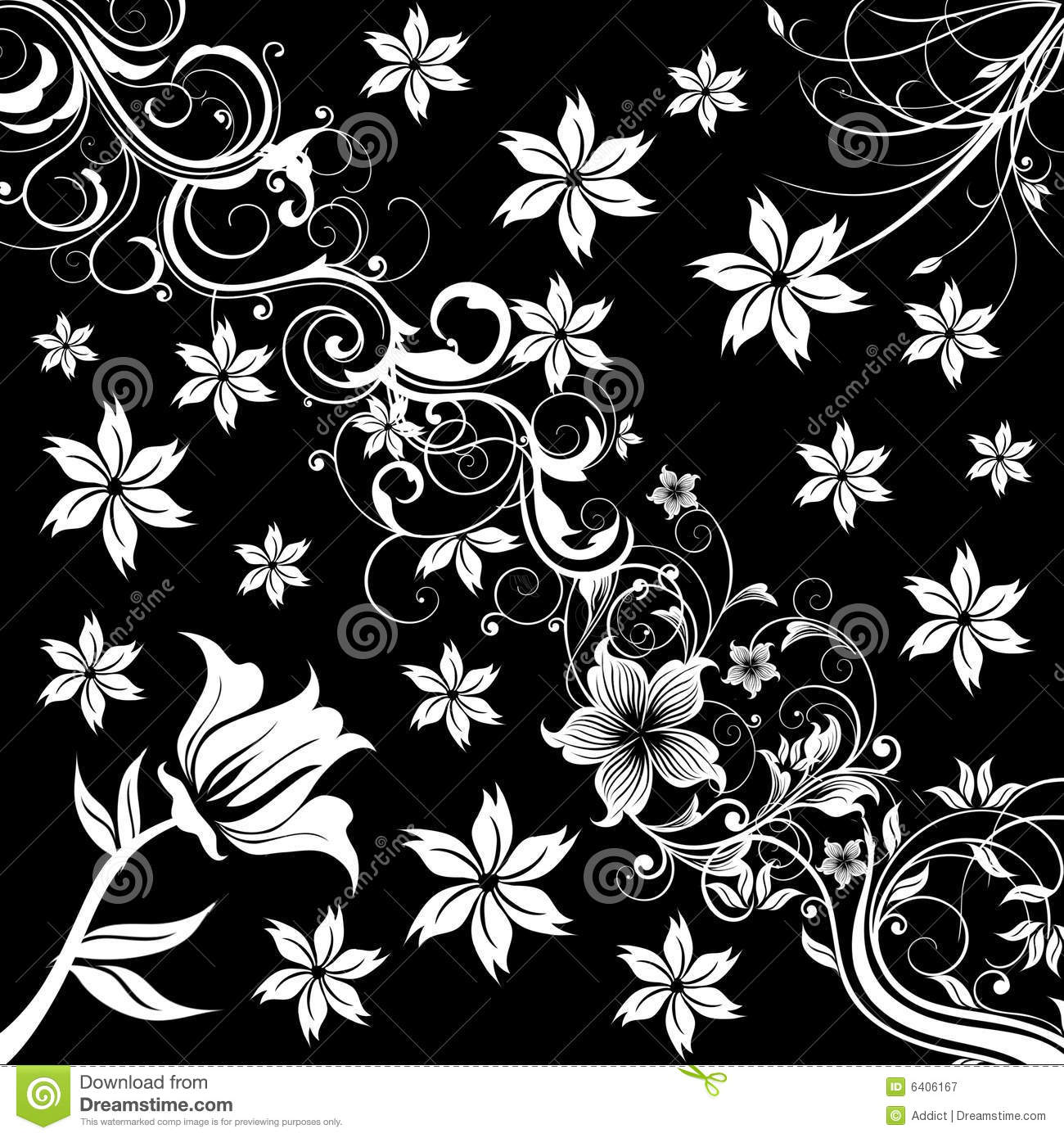 Black Flower Pattern Stock Images: Flower Patterns Illustration Stock Illustration