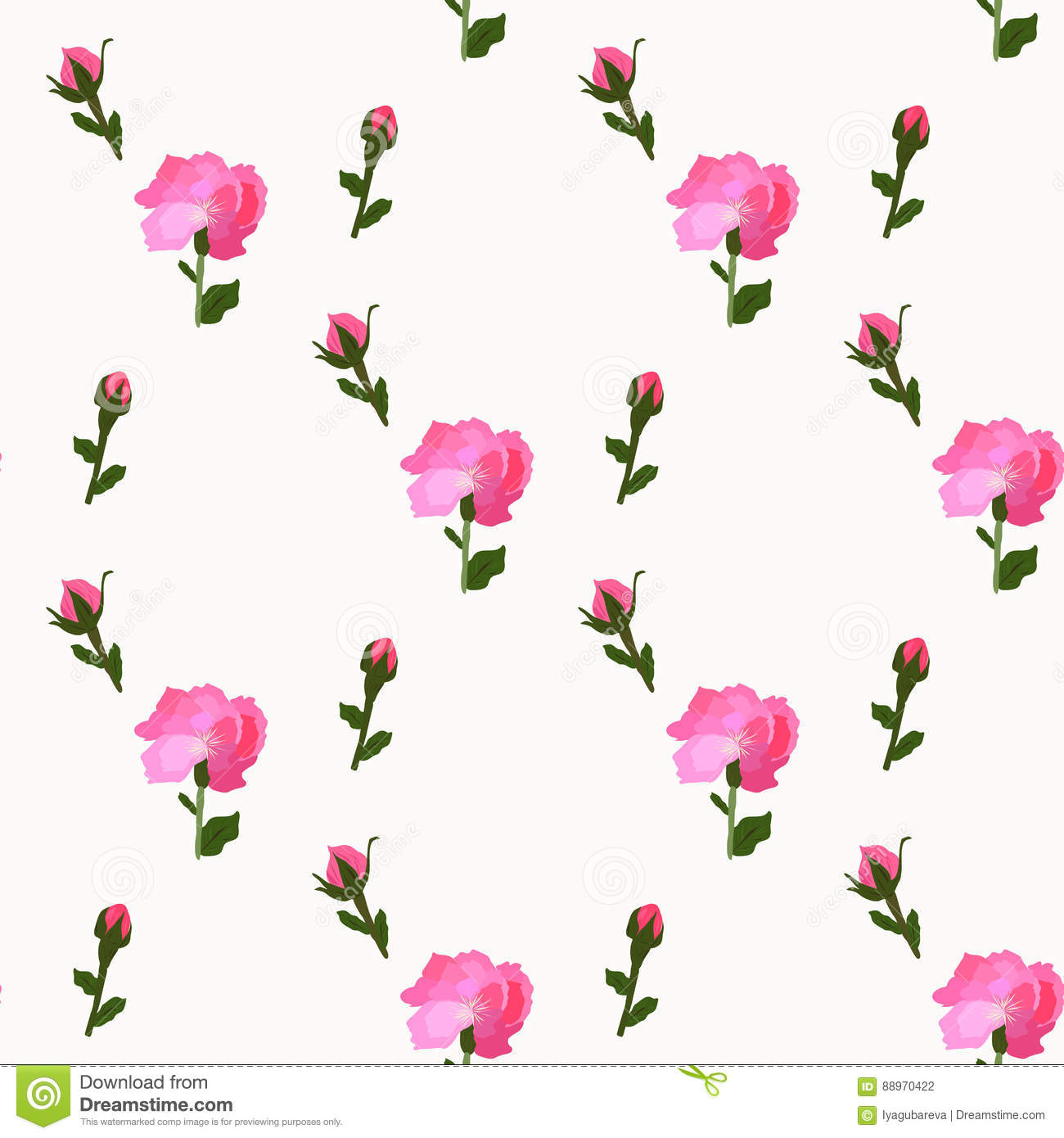 Flower Peony Pink Blooms On Seamless White Wallpaper Stock