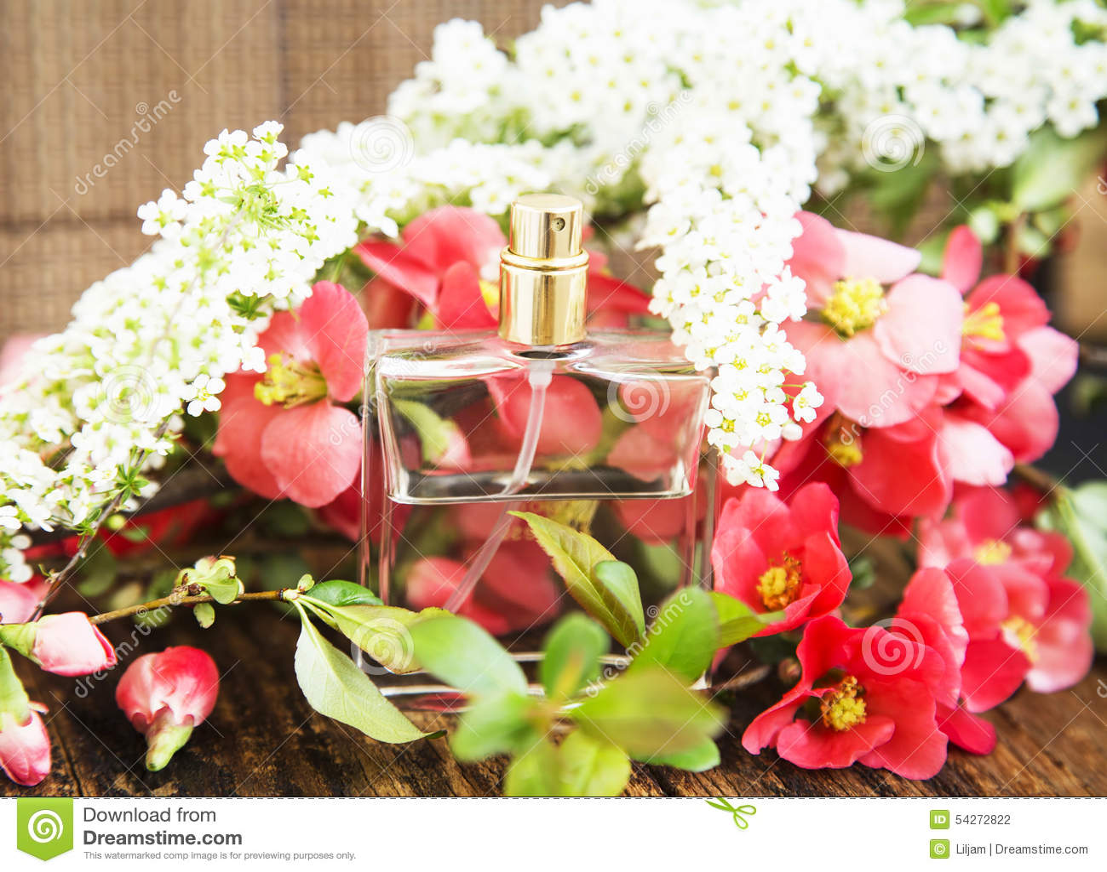 Flower perfume bottle stock photo image of bottle female 54272822 flower perfume in transparent bottle with spring blossom mightylinksfo