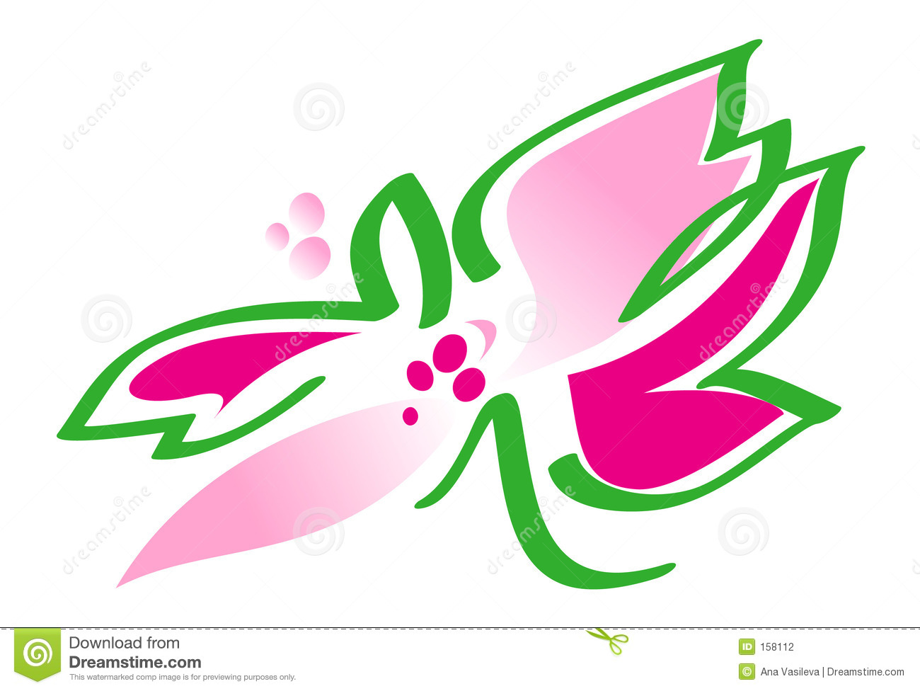 Flower in pink and green - illustration