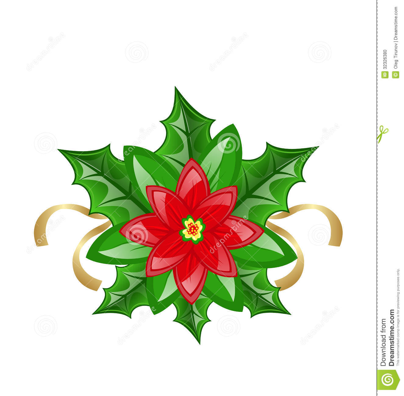 Flower poinsettia for christmas decoration stock vector for Decoration images