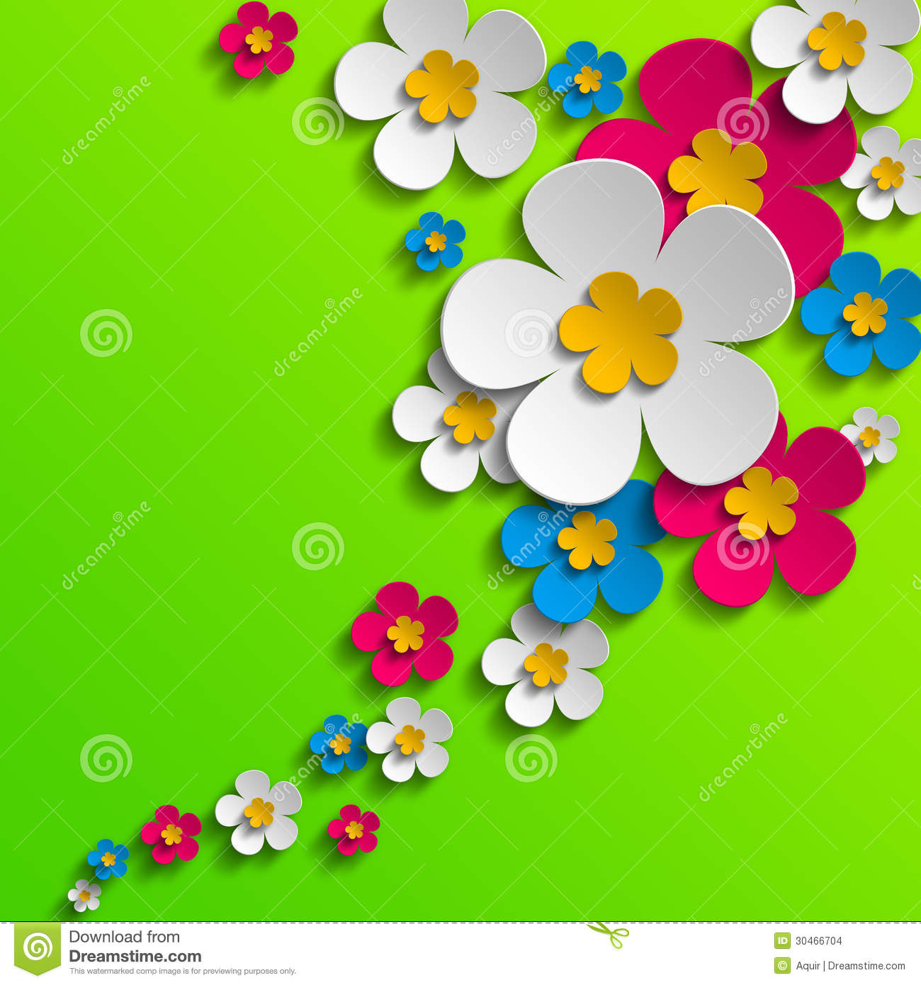 Spring poster - pink, blue and white flowers on green background.