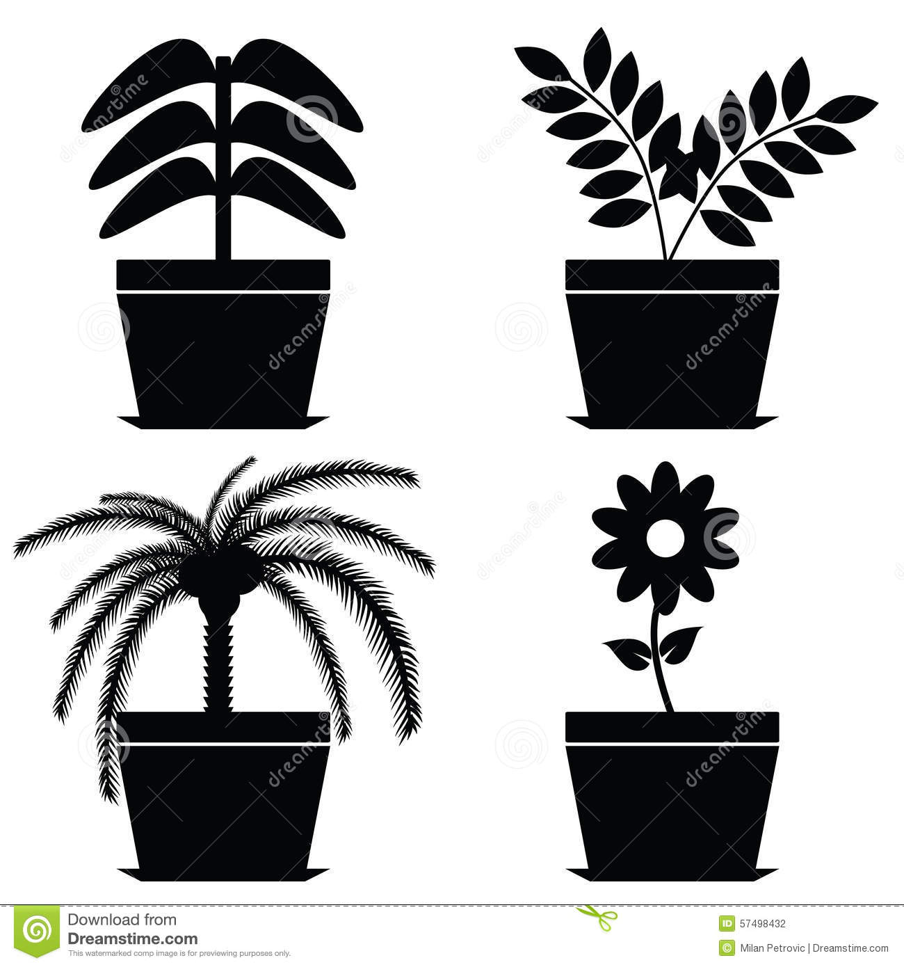 Black and white flower pots - Royalty Free Vector Download Flower In Pot Black