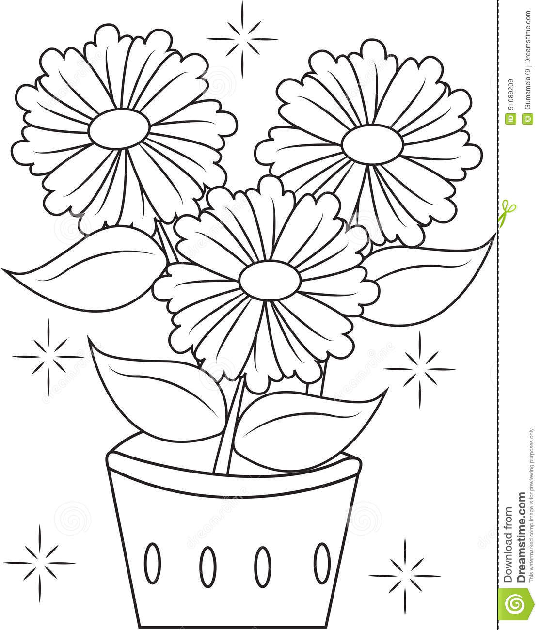 Flower pot coloring page stock illustration. Illustration of drawing ...