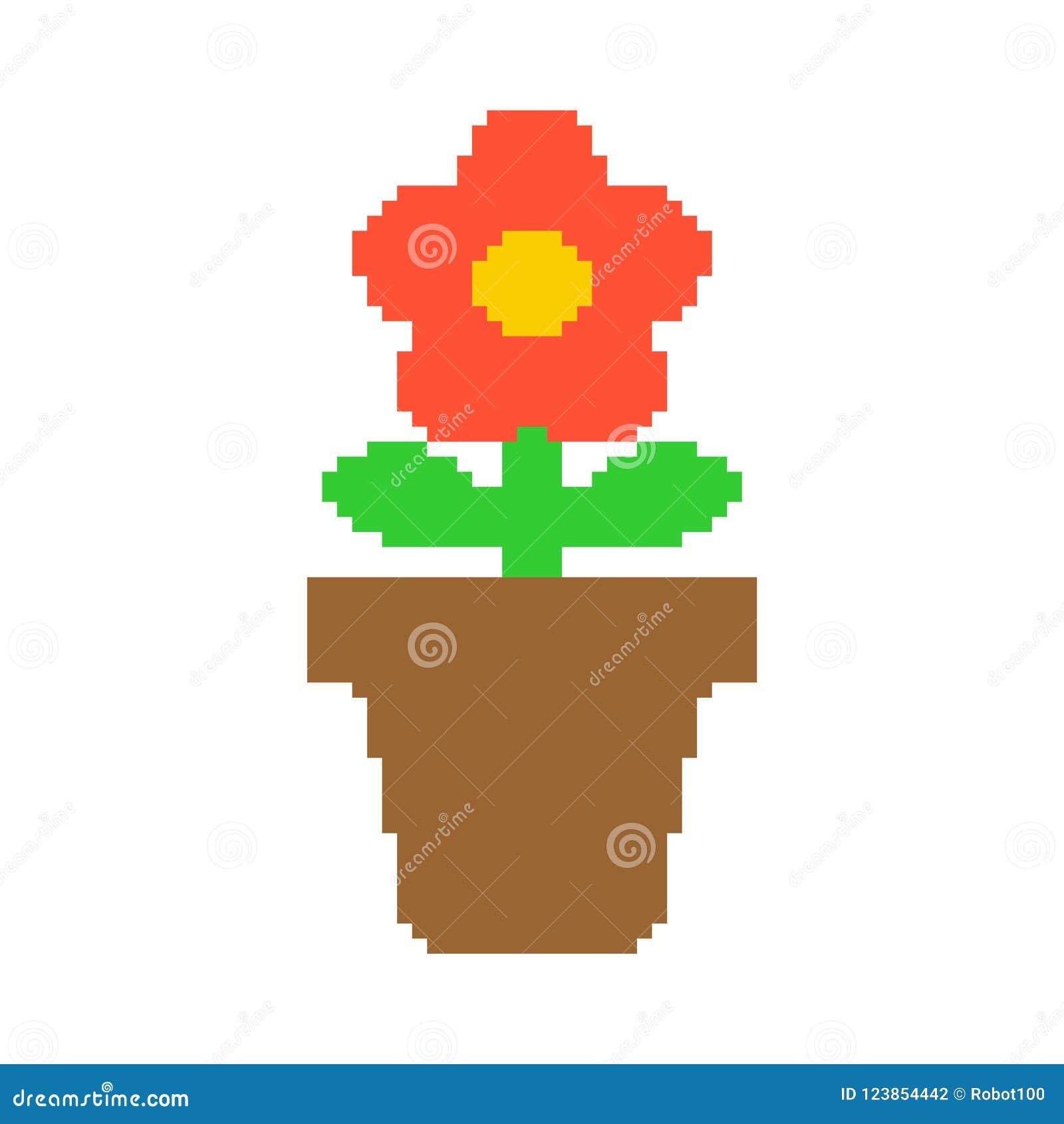 Flower In Pot Pixel Art 8 Bit Vector Illustration Stock Vector