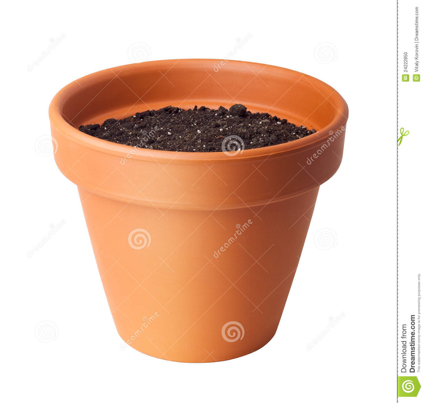 Flower pot with soil stock photo image 24222850 for Clay potting soil