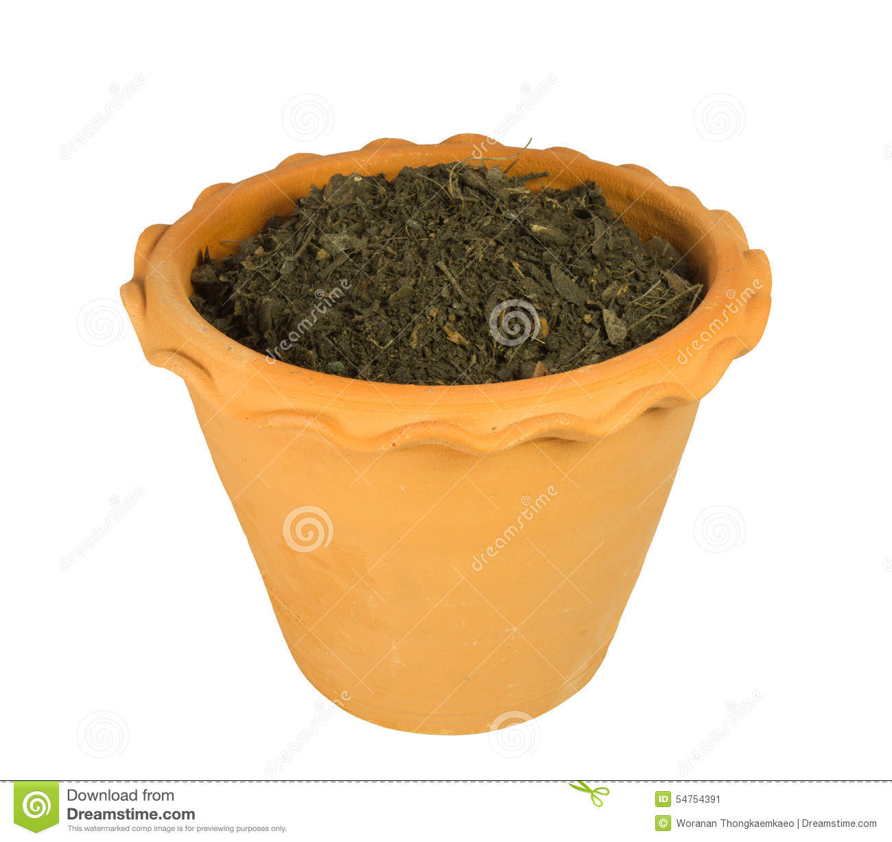 Flower pot with soil stock image 41439523 for Clay potting soil