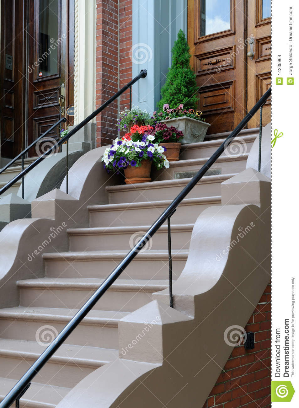 Flower pot on victorian home steps