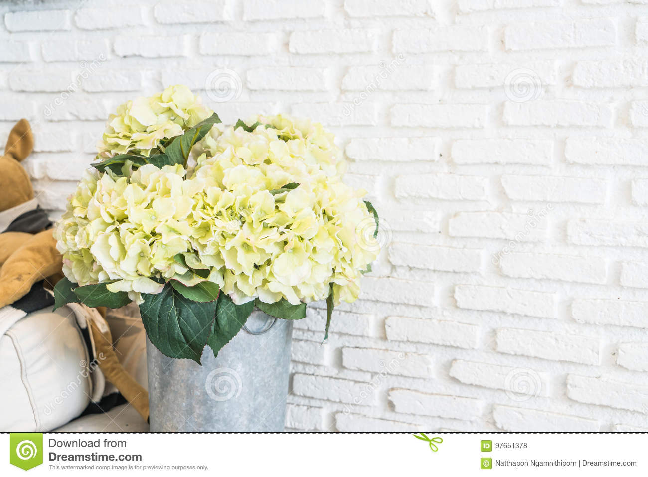Flower In Pot With White Brick Wall Background Stock Photo - Image ...