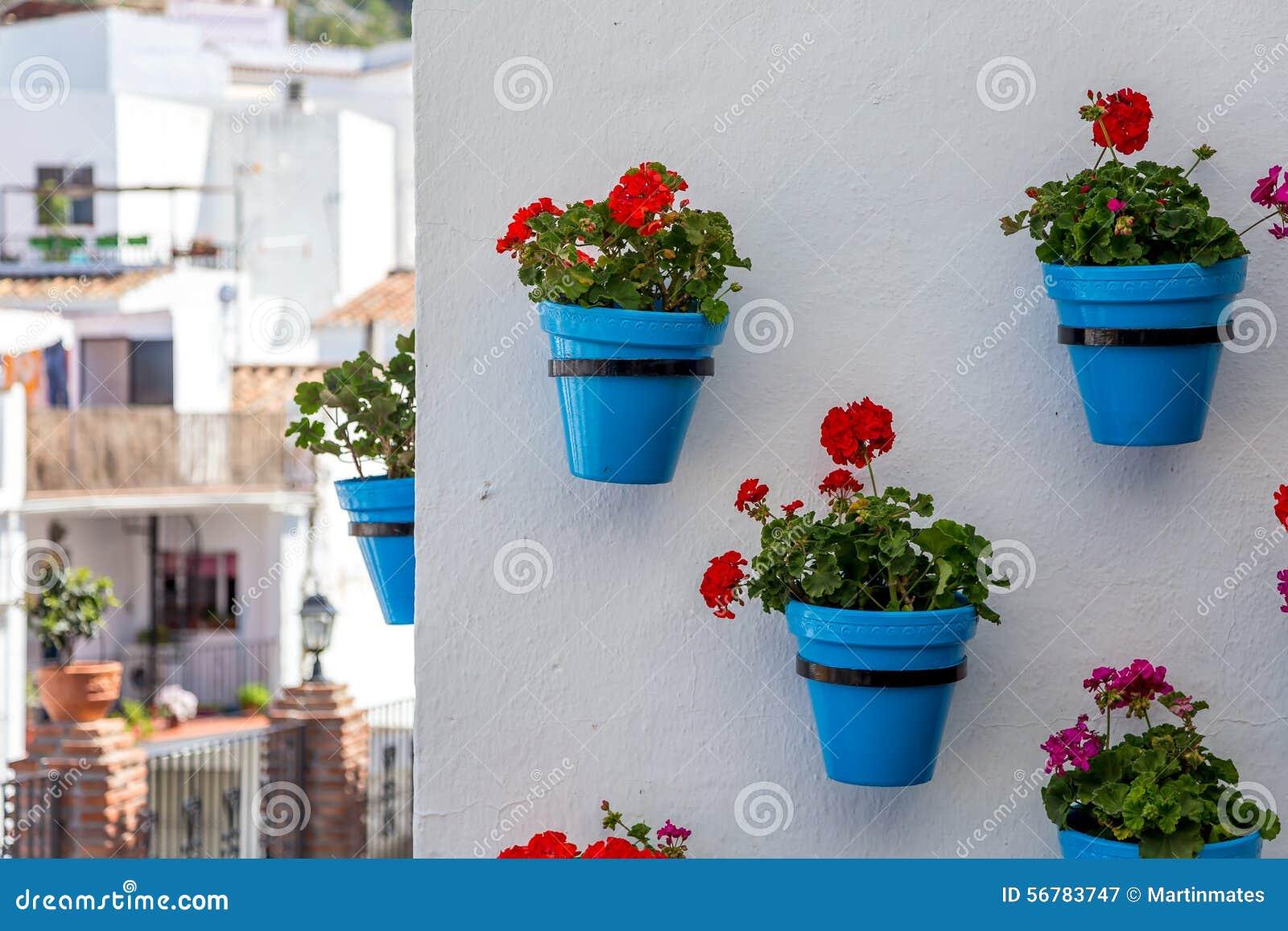 Flower Pots In Mijas Stock Photo Image 56783747