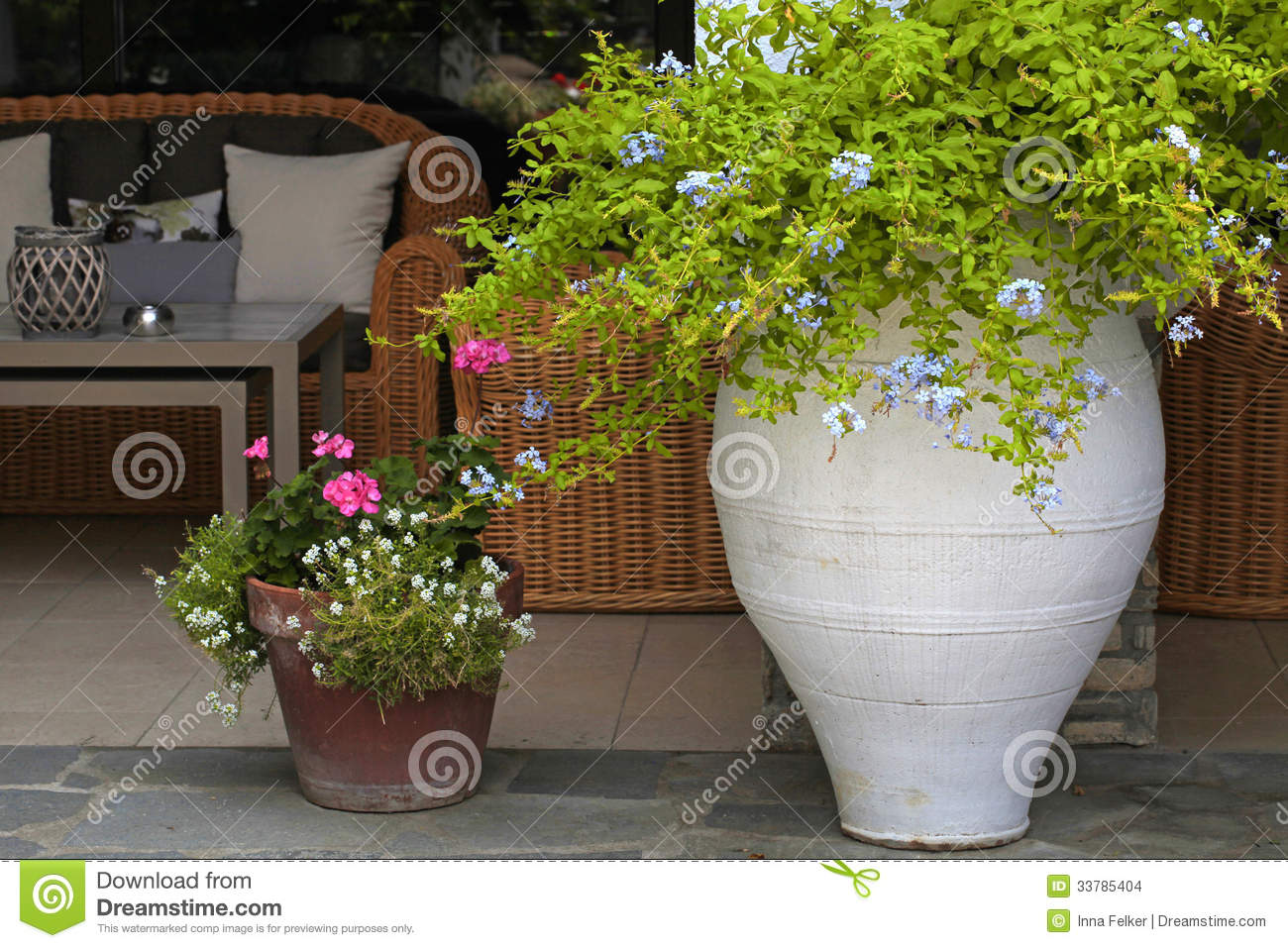 Flower Pots In Resort Patio Greece Stock Photo Image
