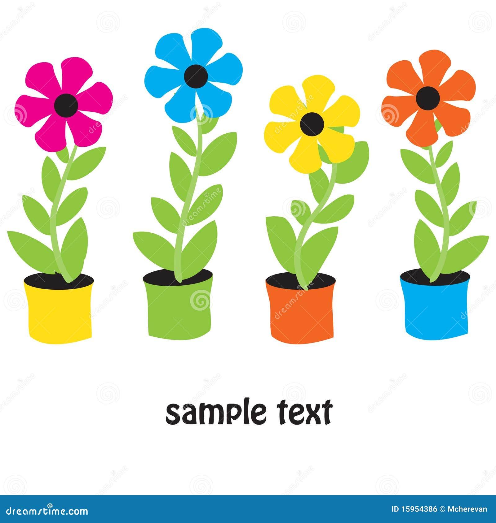 Flower pots Vector card stock vector Illustration of