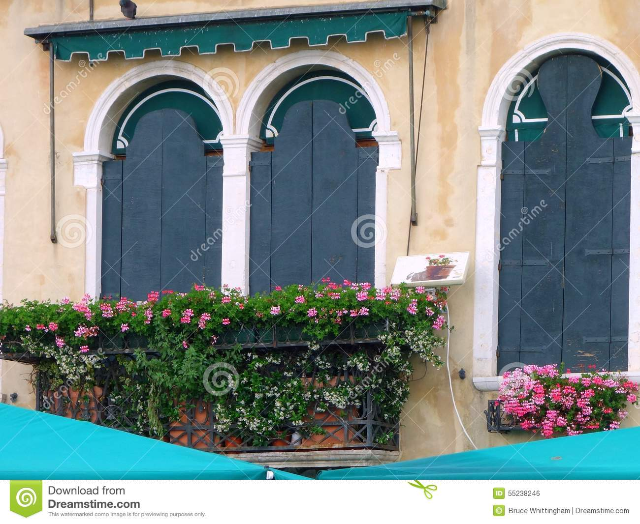 Balcony with pots royalty free stock image cartoondealer for Balcony in italian