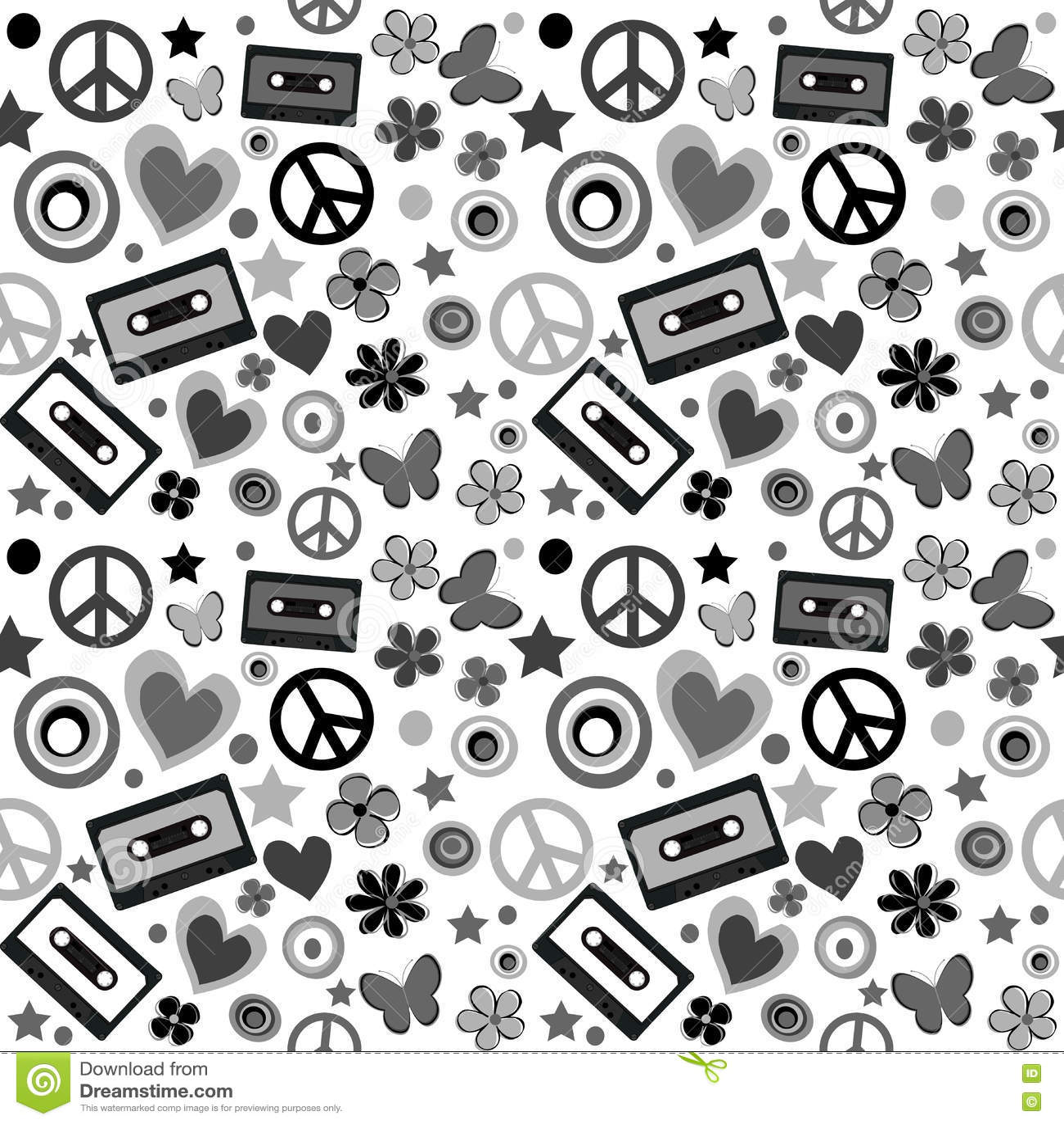 Flower power-achtergrond vector illustratie. Illustratie ...