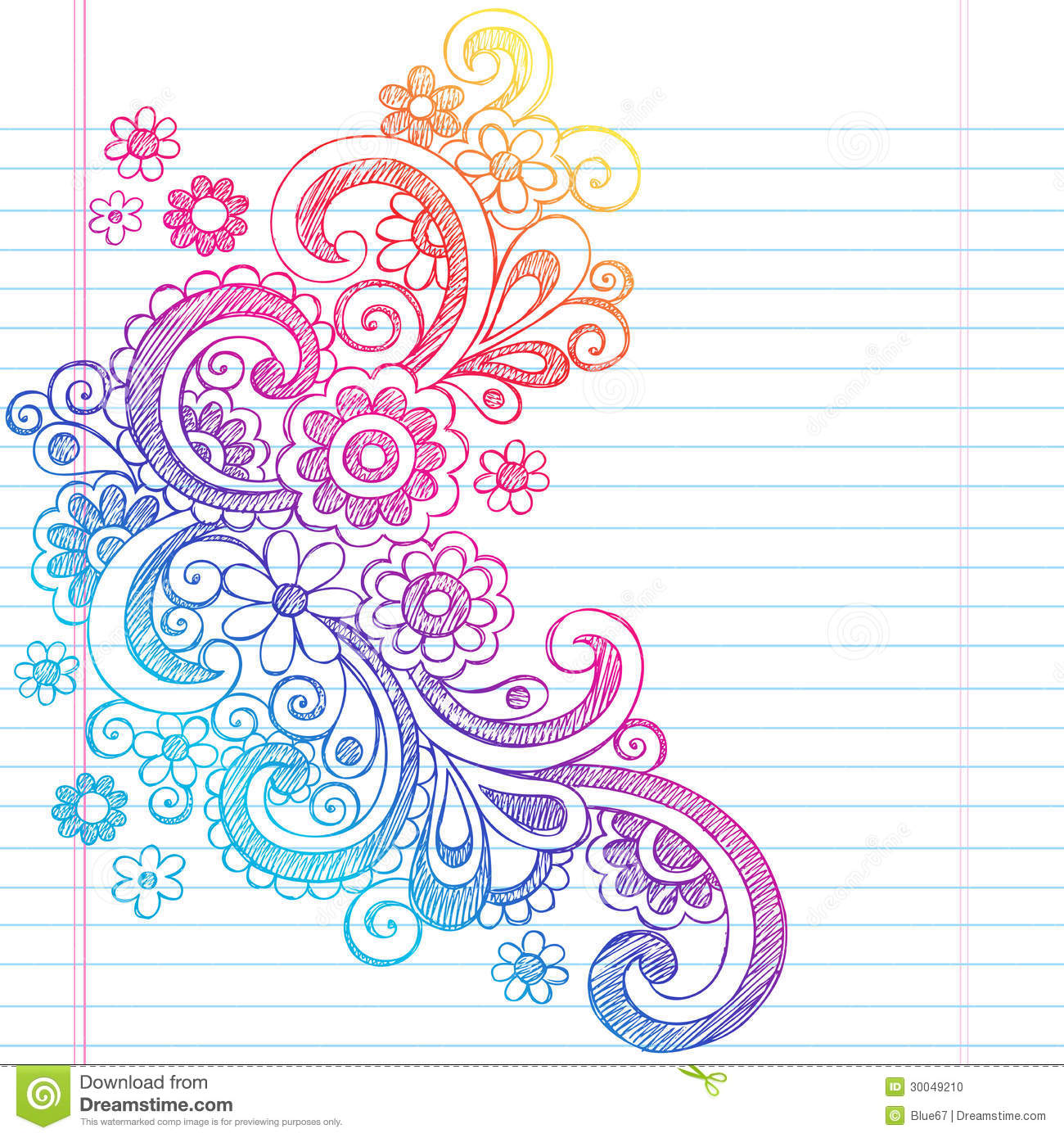 Flowers sketchy back to school doodle vector illus stock for Cute designs for paper