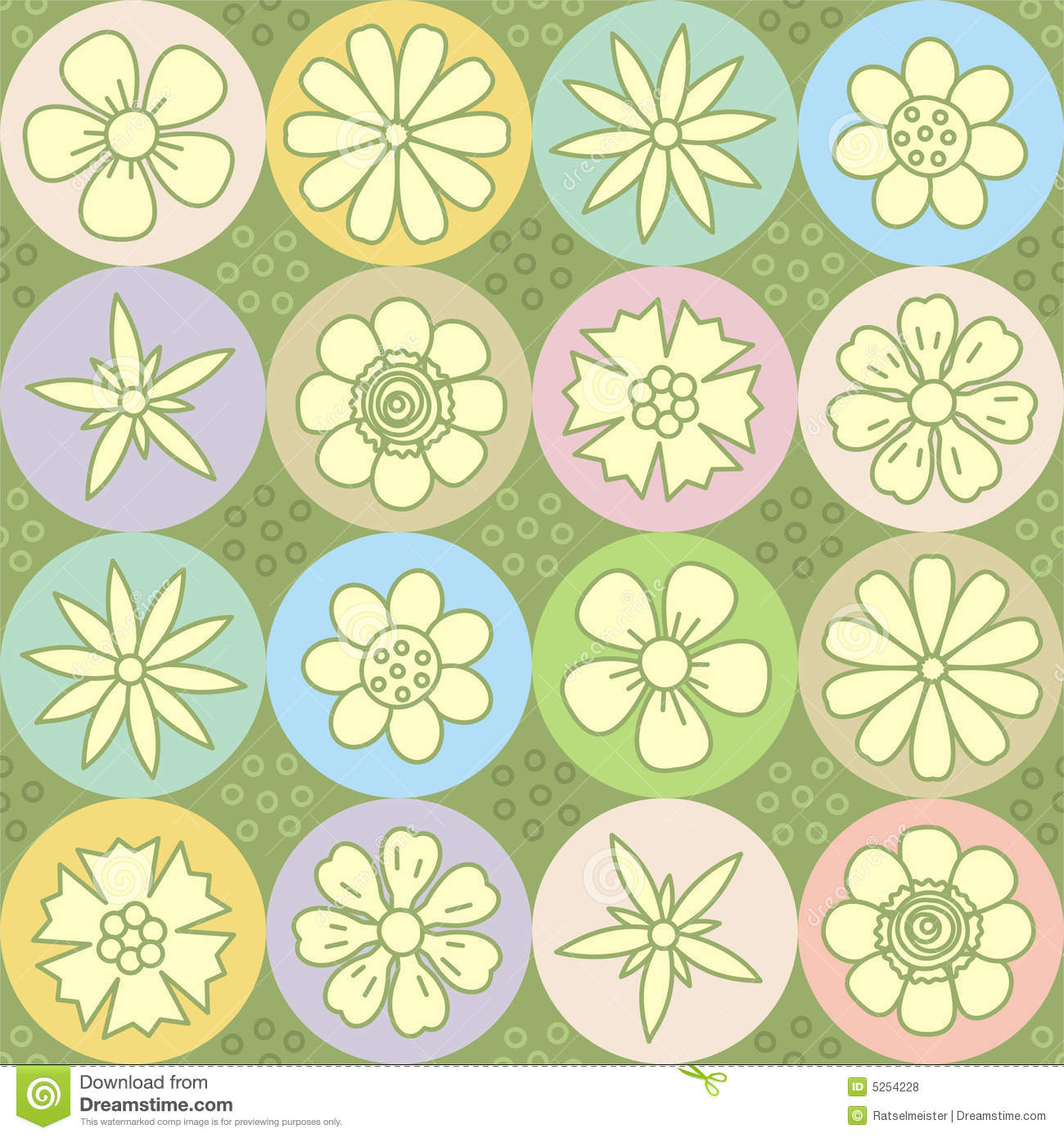 Flower Power Repeat Pattern (seamless Background) Royalty ...