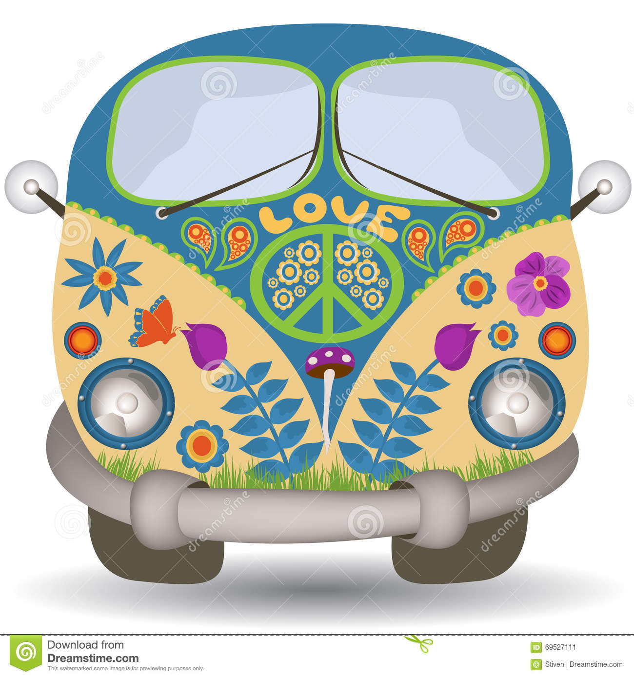 Flower Power Van Stock Vector Image 69527111 : flower power van vector illustration hippie vintage car mini front view 69527111 from www.dreamstime.com size 1300 x 1390 jpeg 200kB