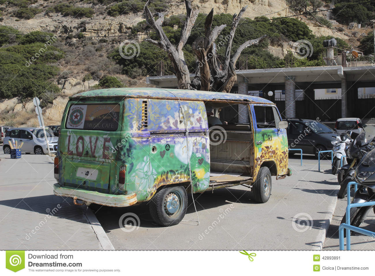 Flower Power Vehicle In Matala Greece Editorial Photo Image Of