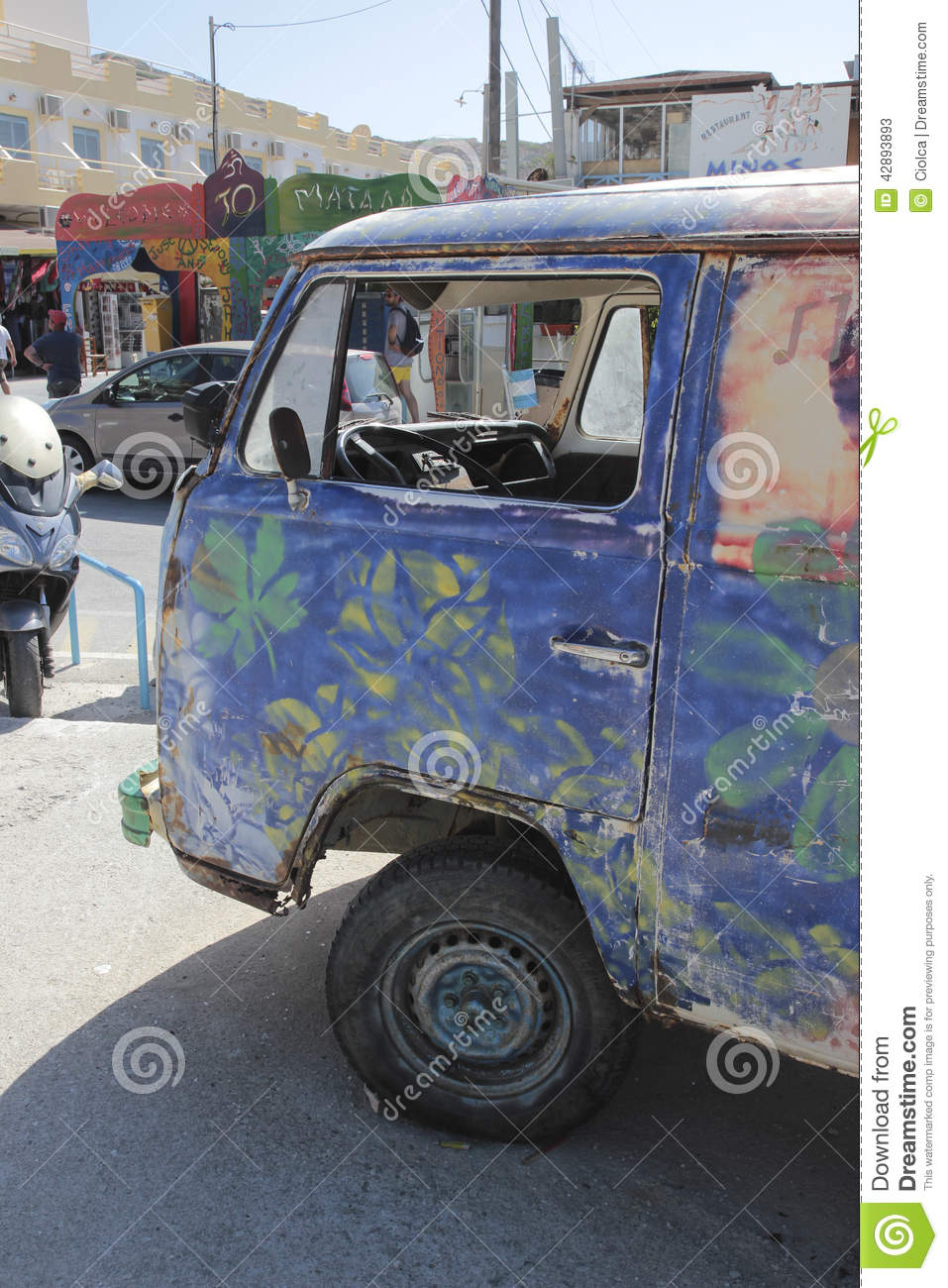 Flower Power Vehicle In Matala Greece Editorial Stock Photo Image
