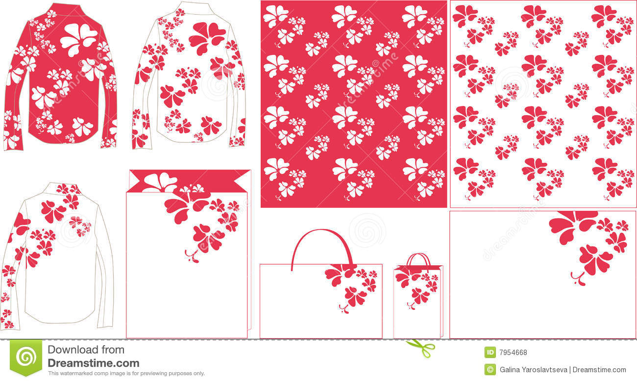Flower Purple Pattern Paper Bag Stock Vector Illustration Of