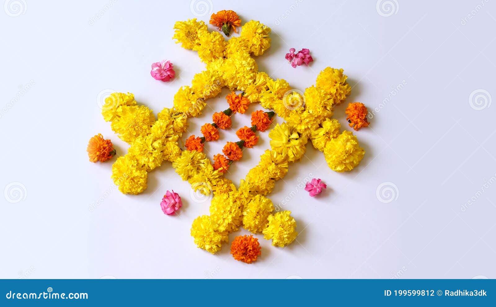Flower Rangoli Designs For Diwali Festival Traditional Background Stock Photo Image Of Cultural Deepavali 199599812