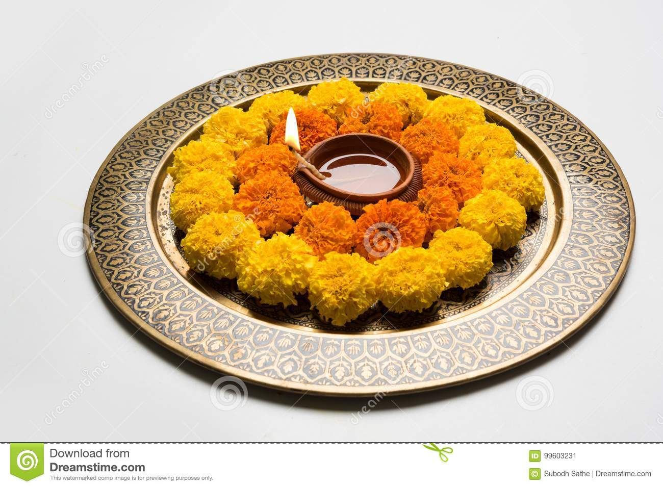 Flower Rangoli For Diwali Or Pongal Or Onam Made Using Marigold Or Zendu Flowers And Red Rose Petals Over White Background With Di Stock Image Image Of Mango Flower 99603231