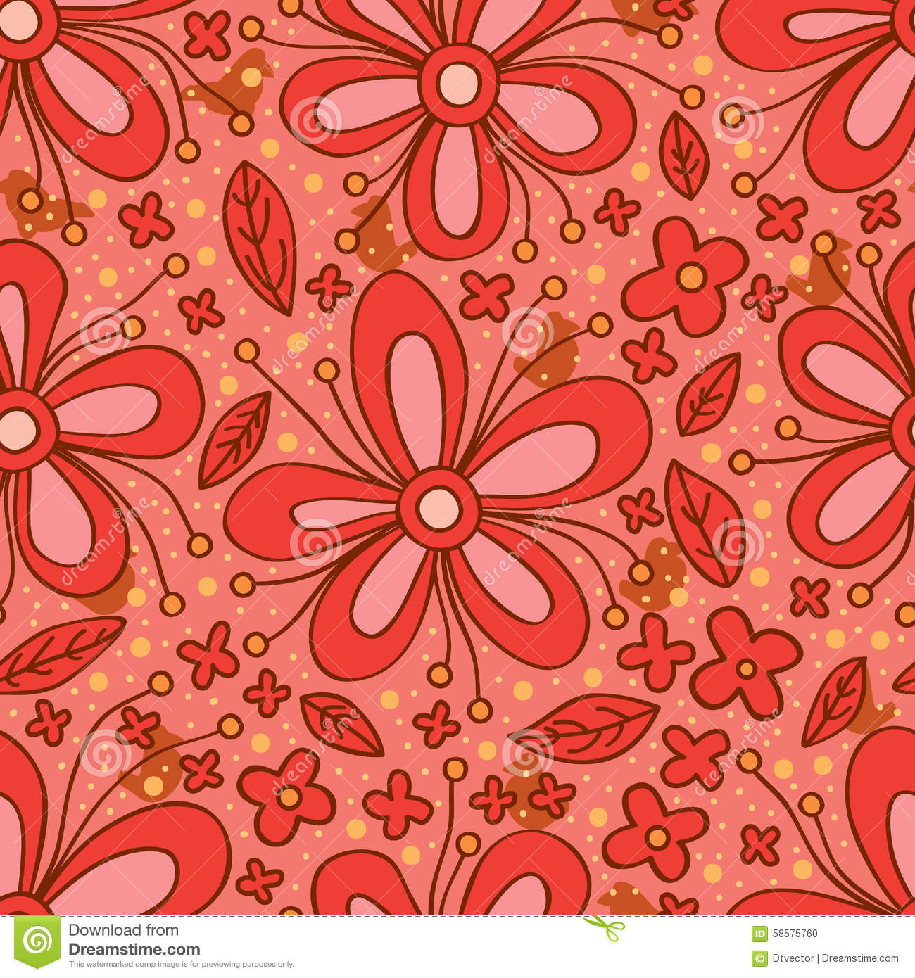 Flower Red Color Seamless Pattern Stock Vector - Illustration of ...