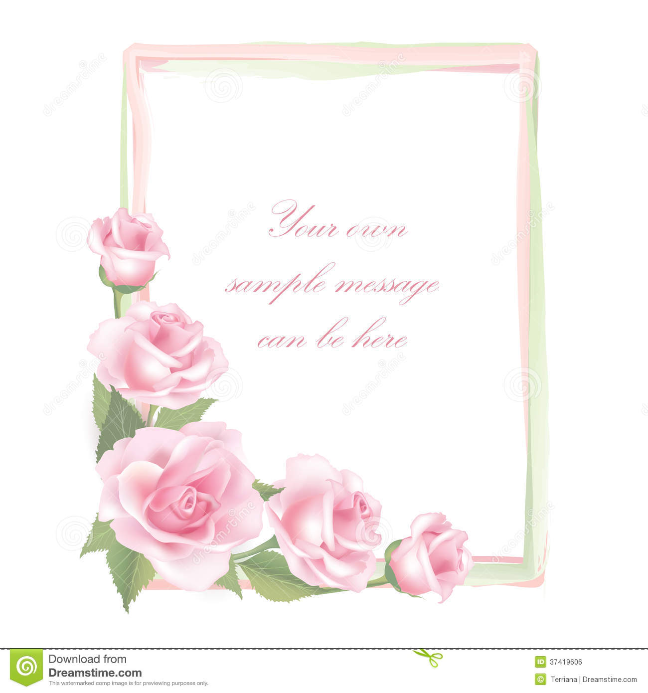 Flower Rose Frame Isolated On White Background. Floral Vector Decor ...