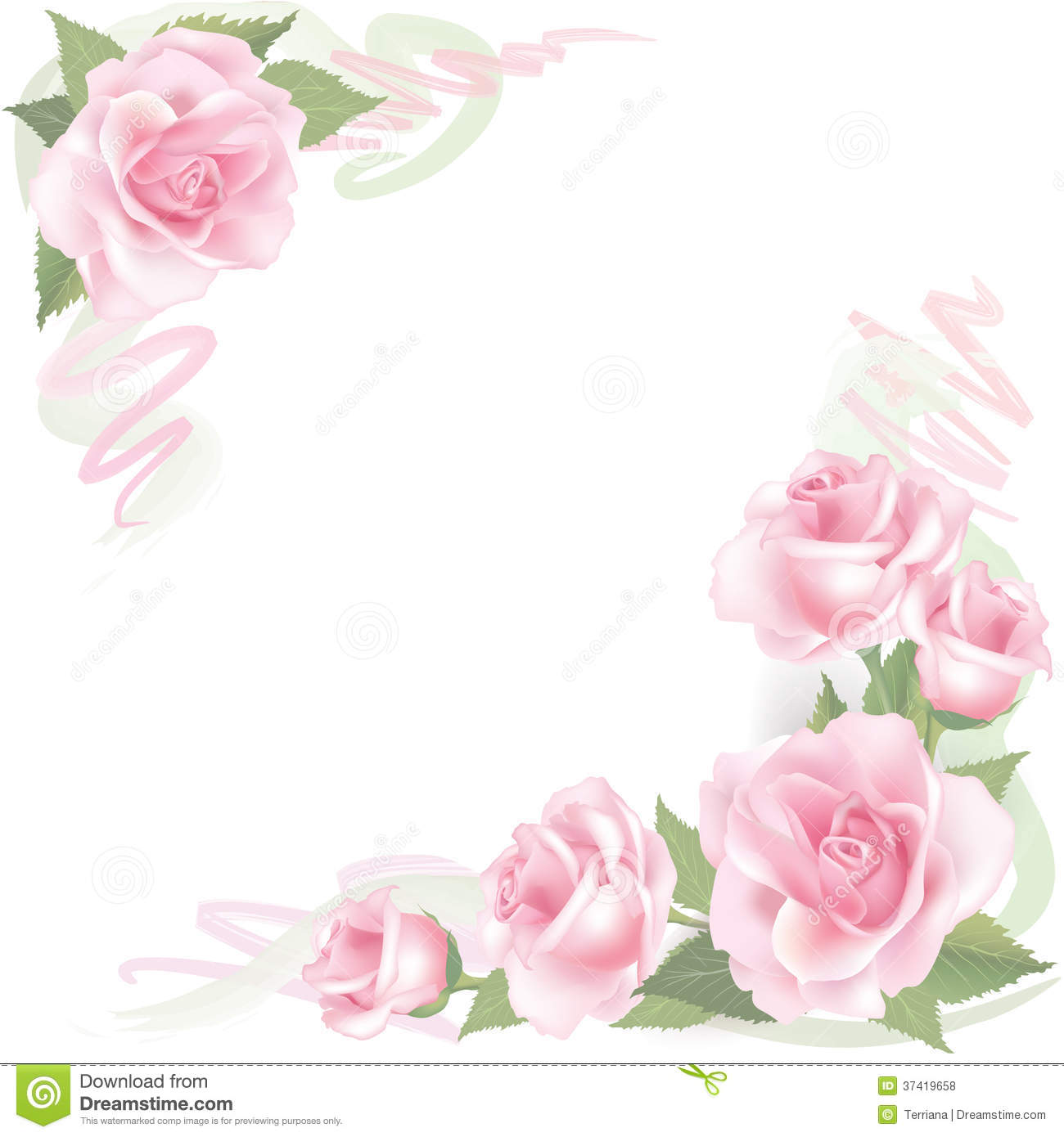 Flower rose frame on white background floral decor for Cadre floral mural