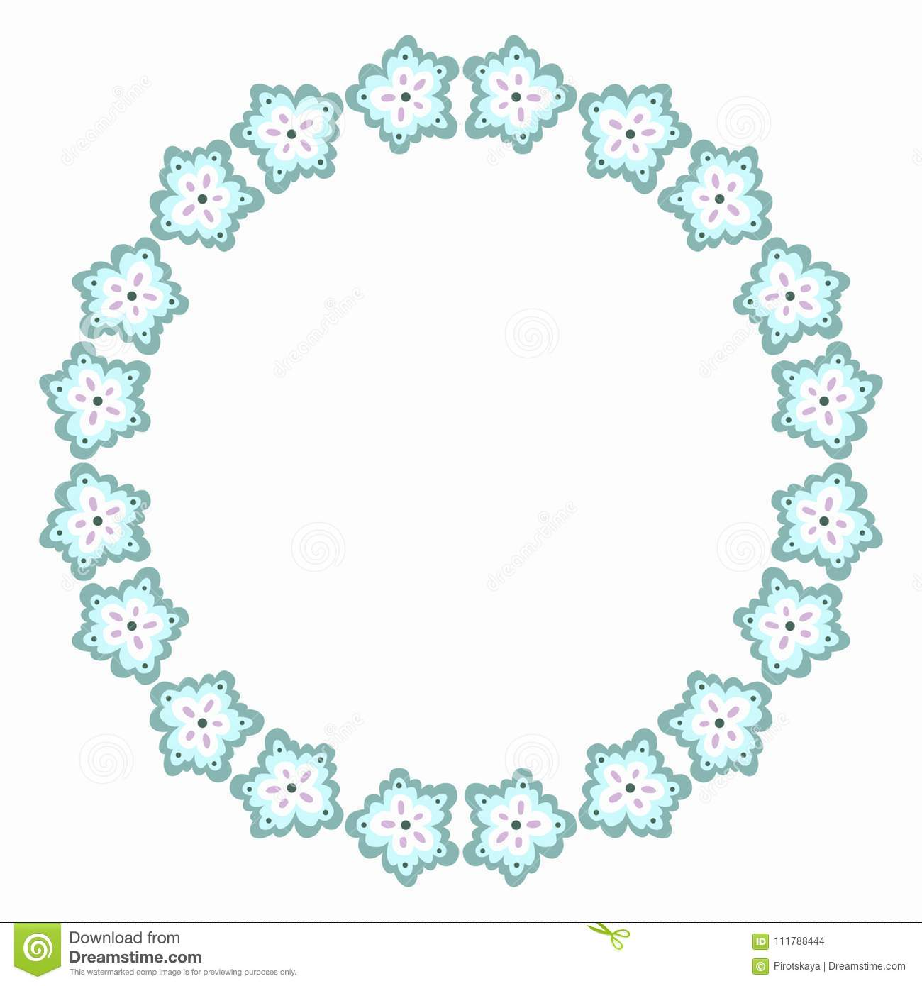 Flower Round Border Light Blue Cold Colors Stock Vector