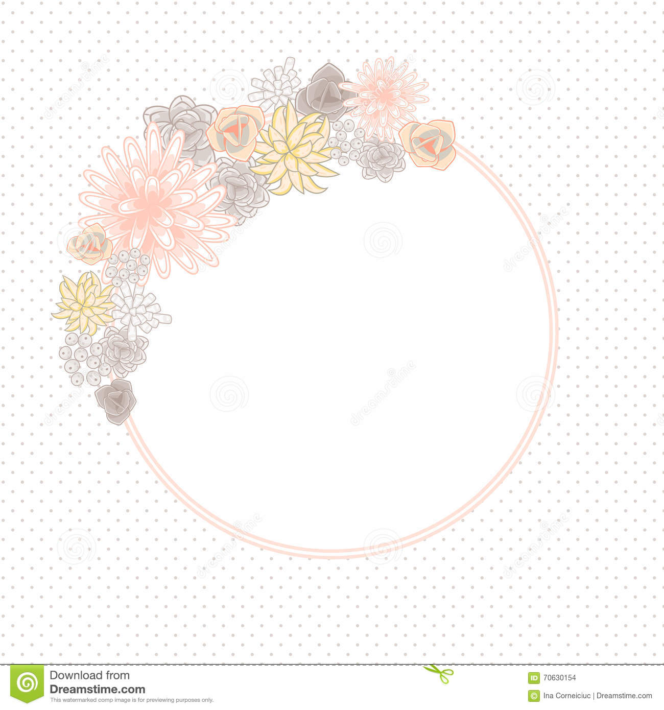 Flower round circle card template vector. Mums, roses and succulents ...