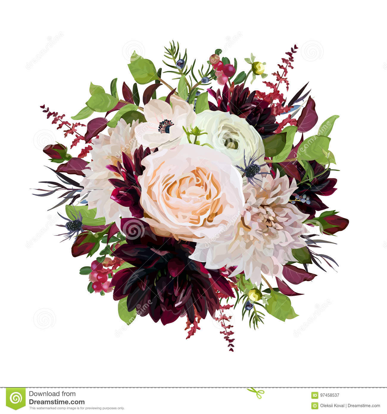 Flower Round Wreath Bouquet Of Pink Rose Burgundy Flowers Dahlia Stock Vector Illustration Of Cafe Fall 97458537