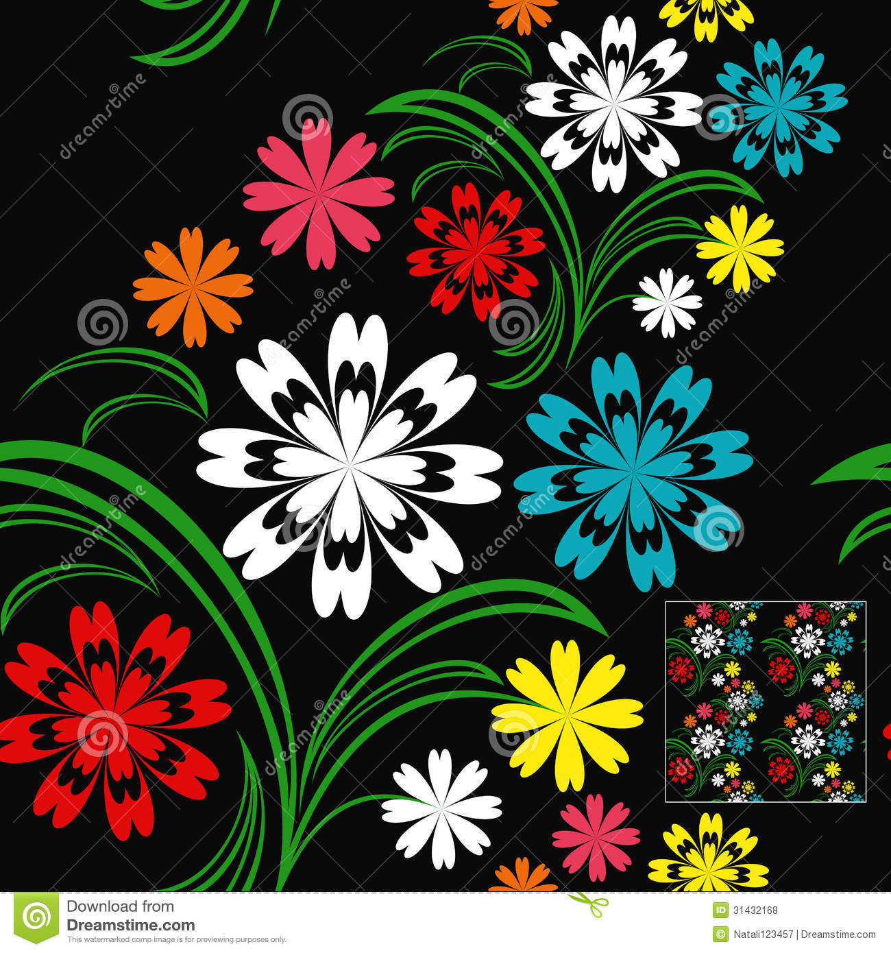 Black Flower And Bud Pattern Royalty Free Stock Photos: Flower Seamless Pattern With Colorful Flowers On A Royalty