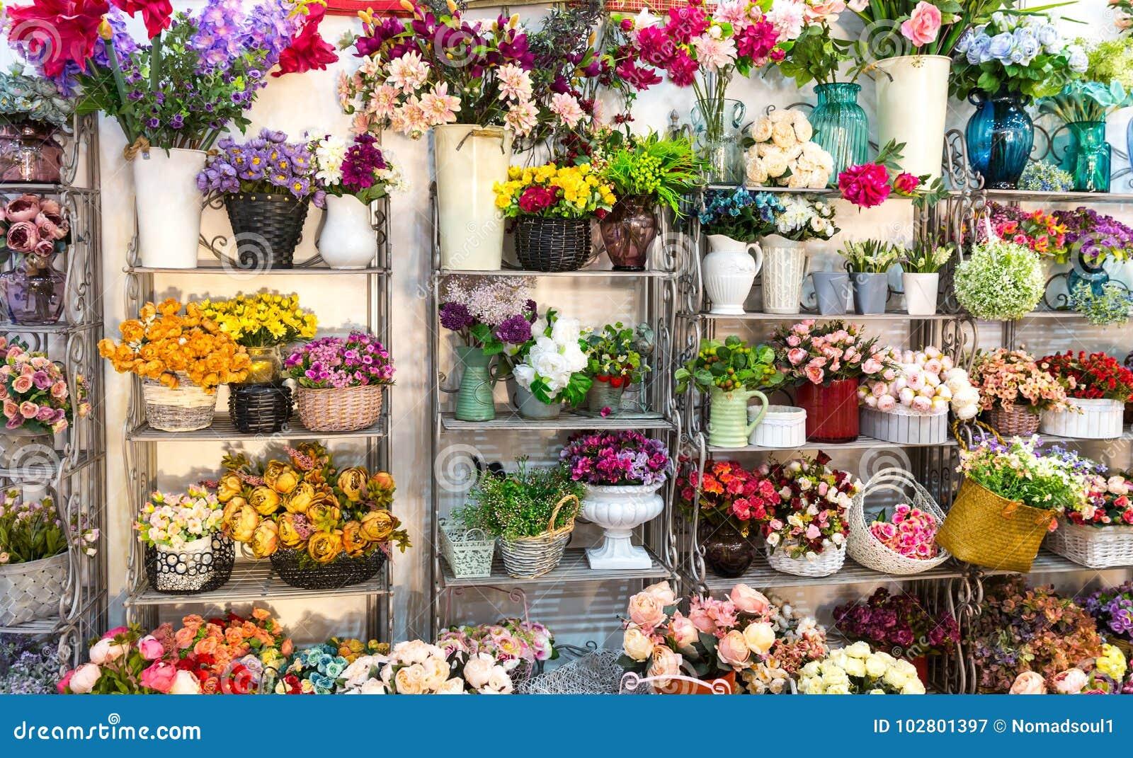 Flower shop bouquets on shelf florist business stock image image flower shop bouquets on shelf florist business beautiful floral decoration izmirmasajfo