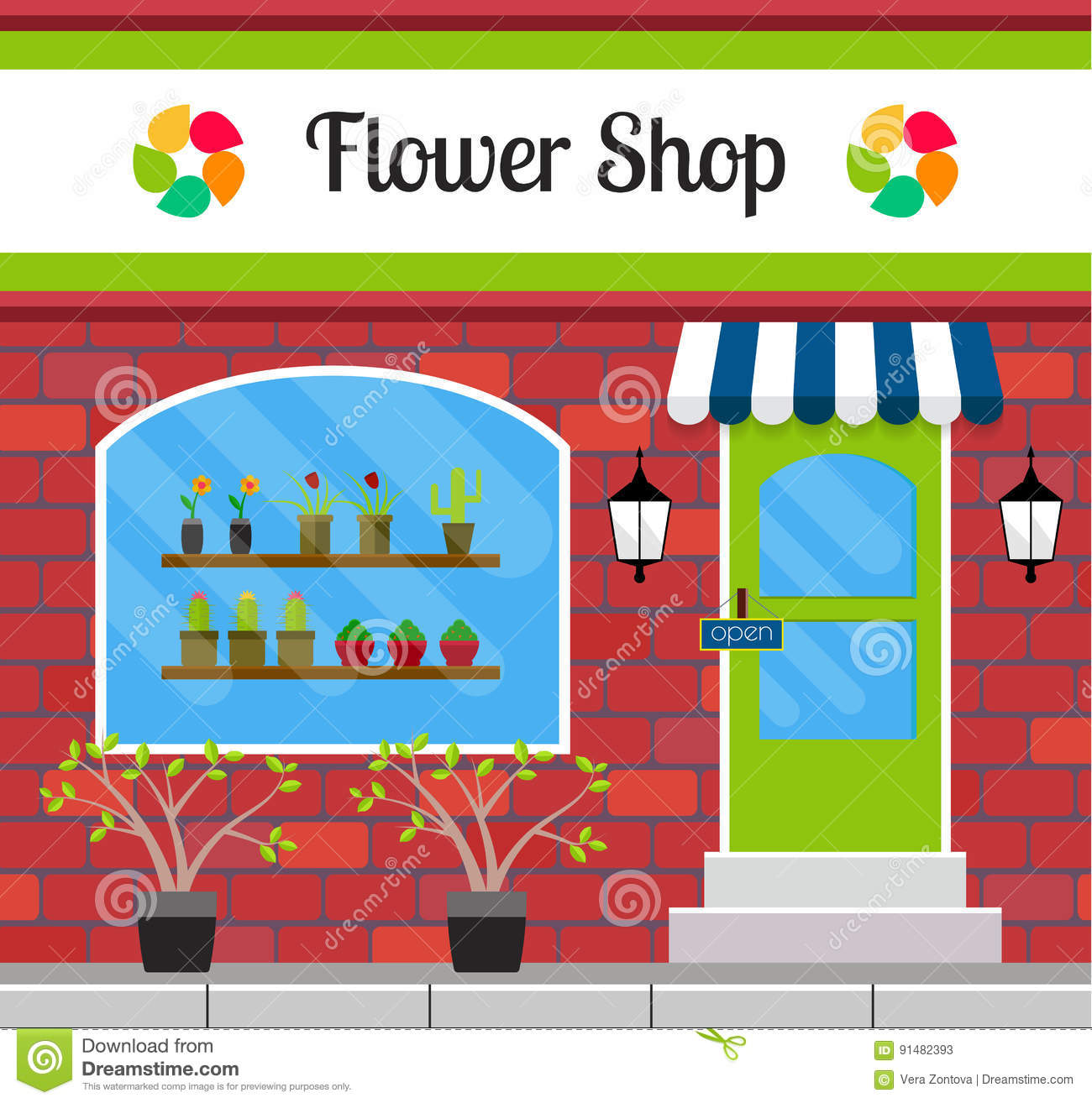 Flower Shop Building Front Or Facade. Stock Vector