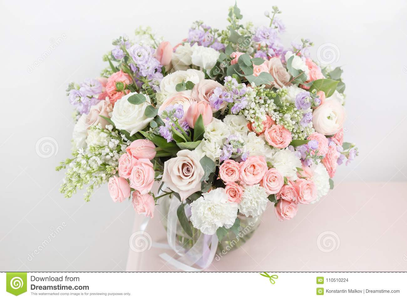 flower shop concept close up beautiful luxury bouquet of mixed flowers on wooden table. Black Bedroom Furniture Sets. Home Design Ideas