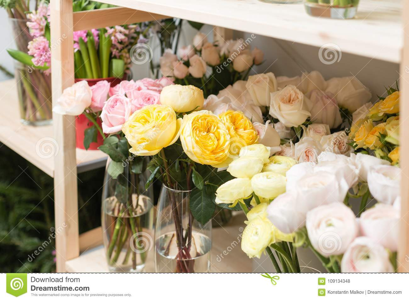 Flower shop concept different varieties fresh spring flowers in download flower shop concept different varieties fresh spring flowers in refrigerator room for flowers mightylinksfo