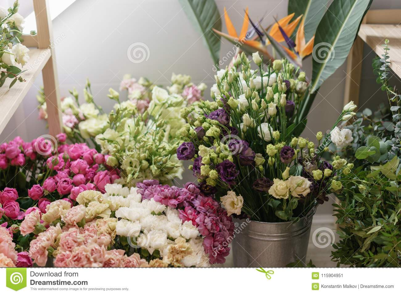 Flower Shop Concept Different Varieties Fresh Spring Flowers In